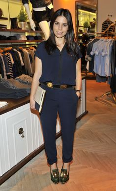Ally Hilfiger wearing the Fara jumpsuit from the Tommy Hilfiger Holiday collection 2013.