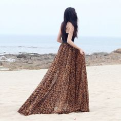 LEOPARD PRINTED MAXI CHIFFON LONG PLEATED SKIRT. Sizes S -XXL.