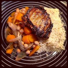Grilled lamb with @GourmetSpiceCo Ras-el-Hanout marinade, served alongside carrot, chickpea & apricot tagine plus a bed of couscous