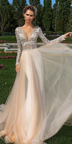 24 Unique Lace Wedding Dresses That Wow ❤ unique lace wedding dresses deep v neckline with long sleeves nude blush crystal design ❤ Full gallery: https://weddingdressesguide.com/unique-lace-wedding-dresses/ #bride #wedding #bridalgown