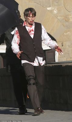 Total gore-fest! Blood-spattered Mads Mikkelsen and Hugh Dancy kick off filming for Hannibal series three in Florence