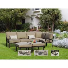 Sandhill 7-Piece Outdoor Sofa Sectional Set, Seats 5