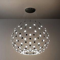 Mesh LED Pendant Light by Luceplan - Color: Black - Finish: Black - Large Pendant Lighting, Led Pendant Lights, Nelson Bubble Lamp, Light Take, Modern Fan, Ring Shapes, Color Changing Led, Modern Lighting, Mesh