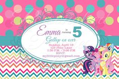 Girly My Little Pony invitations in chevron and polka dots