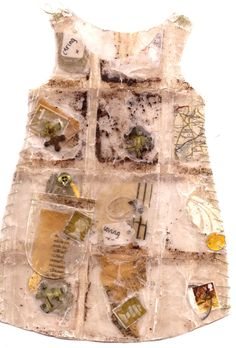 tea bag dress inspired by jennifer collier, neutral beige and yellow colour palette, ntrapping technique used, partial TRANSPARENCY Tea Bag Art, Tea Art, Jennifer Collier, A Level Textiles, Jenifer, Textiles Techniques, A Level Art, Gcse Art, Recycled Art