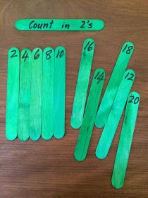 Fun Games 4 Learning: Counting Puzzles with Popsicle Sticks count by 2 ' the other numbers in another color. Even and odd. Fun Math, Math Games, Math Activities, Fun Games, Lego Math, Kids Math, Kids Fun, Counting In 2s, Counting Puzzles