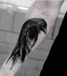 blackwork raven tattoo design on forearm by kamilmokot Clever Tattoos, Great Tattoos, Tattoos For Guys, Black Crow Tattoos, Black And Grey Tattoos, Tattoo Black, Witch Tattoo, Deer Tattoo, Loki Tattoo