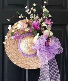 Easter Wreath Straw Hat Spring Wreath Lavender and Cream Floral Wreath with Lavender Deco Mesh Bow Wreath Crafts, Diy Wreath, Wreath Ideas, Door Crafts, Tulle Wreath, Hat Crafts, Easter Wreaths, Holiday Wreaths, Deco Mesh Bows