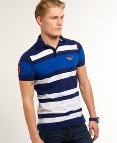Mens - Summer Blues Polo Shirt in Riviera Navy Mix | Superdry