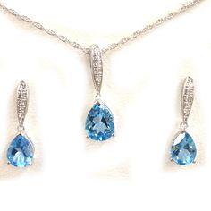 Aquamarine & White CZ 925 Sterling Matching Drop Dangle Pendant & Earrings Set #eightyjewels #PartyBirthday