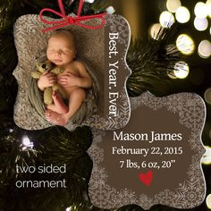 baby's first christmas photo ornament - personalized photo 1st christmas rectangle aluminum ornament POBYE by ornamentstop on Etsy https://www.etsy.com/listing/259873601/babys-first-christmas-photo-ornament