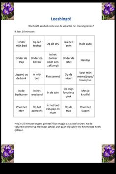 Hier is hij dan! De leesbingo voor de voorjaarsvakantie. Geef je mailadres en ik zal hem delen. #leesmotivatie Reading Bingo, Live Life Love, School Hacks, School Tips, English Literature, Grade 1, Speech Therapy, Fun Learning, Spelling