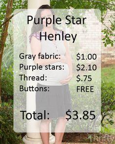 Purple Star Henley Cap sleeve, a Free Tutorial Mash-up   Sew Thrifty {www.sewthrifty.org}