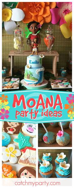 Mis Ideas en Detalles's Birthday / Moana Party - Moana Party at Catch My Party Moana Theme Birthday, Luau Birthday, 6th Birthday Parties, Birthday Ideas, Moana Birthday Cakes, Fiestas Peppa Pig, Decor Eventos, Moana Party, Luau Party