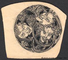 René Lalique Cercle décoré de masques de faunes et de feuilles entre 1860 et 1945 crayon et encre H. 0.095 ; L. 0.105 musée d'Orsay, Paris, France