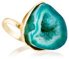 Bright Green Drusy Prong Ring