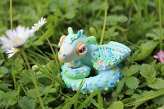 Green Blue & Gold Polymer Clay Fantasy Dragon by MadeAtMidnight0, £20.00