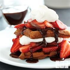 Don't these waffles look amazing? Try this recipe for Breakfast Neapolitan Waffles using Jif® Chocolate Flavored Hazelnut Spread.