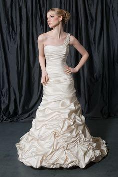A-Line Straight Neckline One-Shoulder Strap with Ruffles Lace up Taffeta Wedding  Dress 27909b27d674