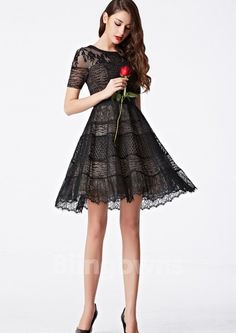2016 Coniefox New Styles Short Sleeve Round Neck Lace Prom Cocktail Noir Mini Dress 31101 Prom Dresses 2016, Designer Prom Dresses, Evening Dresses, Short Dresses, Cheap Cocktail Dresses, A Line Shorts, Basic Outfits, Formal Gowns, Pretty Dresses