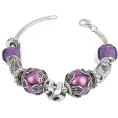 Tedora Sterling Silver Florence Bracelet found on Polyvore Florence Cathedral, Murano Glass Beads, Jewelry Boards, Silver Charms, Vintage Jewelry, Jewels, Sterling Silver, Shoe Bag, Purple