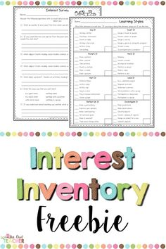 Get to know your students with this free interest inventory that is going to help you with teaching and your students be successful all year! Interest Inventory Elementary, Reading Interest Inventory, Reading Interest Survey, Learning Styles Survey, Learning Style Assessment, Learning Style Inventory, Student Interest Inventory, Student Interest Survey, Student Survey