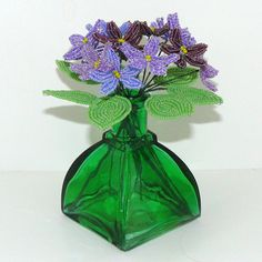 Beaded Flowers Lovely Violets in  a Variety of by Craftymoose, $18.00