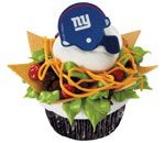 Creative cupcake idea featuring DecoPac's NFL New York Giants Helmet rings. Perfect for your game day party!