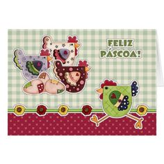 Feliz Páscoa. Hens and Rooster Country Design Customizable Easter Greeting Cards in Portuguese. Matching cards in various languages, postage stamps and other products available in the Holidays / Easter Category of the Mairin Studio store at zazzle.com