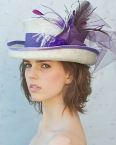 Easter anyone? Off White & Lavender Kentucky Derby Mad Hat Top Hat by AwardDesign, $96.00