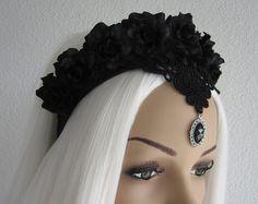 Headband Headpiece Headdress Lace Roses Gothic by Ravennixe