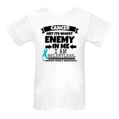 Ovarian Cancer Cancer Met Its Worst Enemy in Me...I am Relentless Women's Organic T-Shirts spotlighting an ultra-strong motto with our original awareness ribbon to take a stand and support your cause $17.99 awarenessribboncolors.com