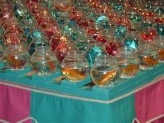 Goldfish at the fair! Throw a ping pong into the bowl to win. My brother & I won many once upon a time. We put them in a HUGE aquarium and the fish got HUGE as well