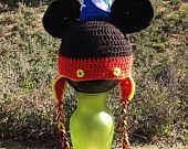 Mickey Mouse Crochet  Beanie with Ear flaps