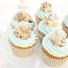 pretty cupcake topper - chocolate seashells