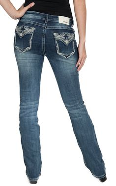 Grace in LA Medium Wash Embroidered Rhinestone Flap Pocket Easy Fit Boot Cut Jeans