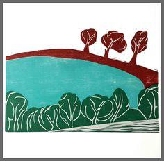 "Woodcut ""Eifelmaar"" edition: 20 prints '11,02 x '16.54 on '19,69 x '19,69 aqaurell paper  #woodcut #linocut #graphic #printmaking #print #paper"