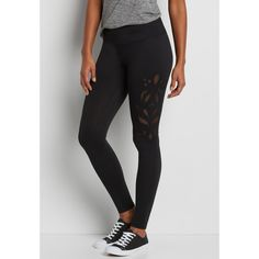 maurices Legging With Patterned Mesh Inlay, Women's, ($34) ❤ liked on Polyvore featuring pants, leggings, patterned trousers, legging pants, print pants, print leggings and patterned pants