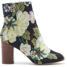 Sole Society Mullholland Cylinder Heel Bootie (£93) ❤ liked on Polyvore featuring shoes, boots, ankle booties, green multi embroidery, short boots, boho booties, ankle boots, bohemian boots and ankle bootie boots