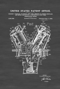 Patent print poster on an Aeronautical Motor (also known as an airplane engine). It was invented by Charles B. Kirkham for the famous Curtiss Aeroplane and Motor Company. The patent was issued by the United States Patent Office on September 7, 1920. Patent prints allow you to have a piece of history in your Home, Office, ...