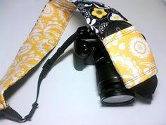 Dslr Camera Strap Slipcover with lens pocket  Black by KallieLilyS, $18.00