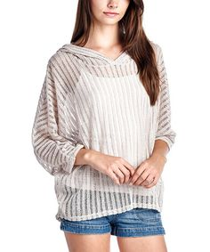 Loving this Taupe Sheer Stripe Cape-Sleeve Hoodie on #zulily! #zulilyfinds