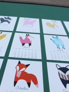 Cute foxes calendar