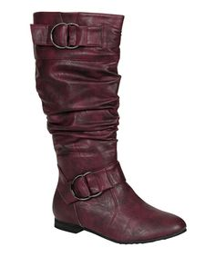 Take a look at this Burgundy Art Buckle Boot on zulily today!