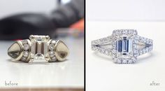 Tired of an old engagement ring setting? Update your setting with a halo setting.