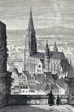 Antique print Minster Freiburg im Breisgau Friburgo in Brisgovia stampa antica