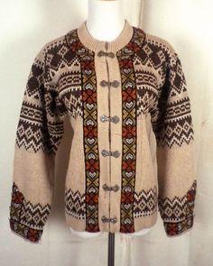 vtg 60s Nordstrikk 100% Wool Nordic Ski Sweater geometric metal clasps Norway S