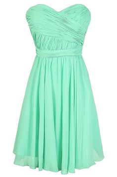 Fair Maid of Honor Chiffon Dress in Mint  www.lilyboutique.com