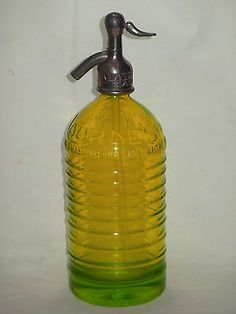 UNIQUE ! VINTAGE YELLOW SYPHON sifone siphon SODA Seltzer WATER bottle