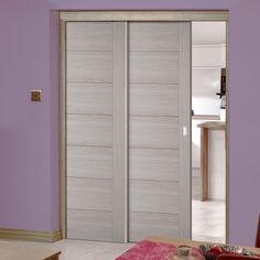 Twin Telescopic Pocket Hampshire Light Grey Doors - Prefinished.      #pocketdoors #moderndoors #internaldoors #telescopicdoors #hiddendoors #greydoors #interiordesign